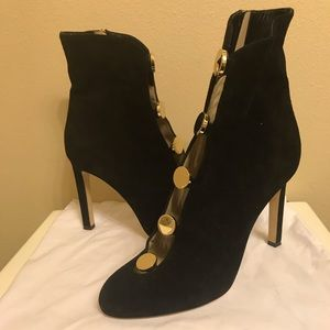 Jimmy Choo Blake Suede bootie with gold buttons